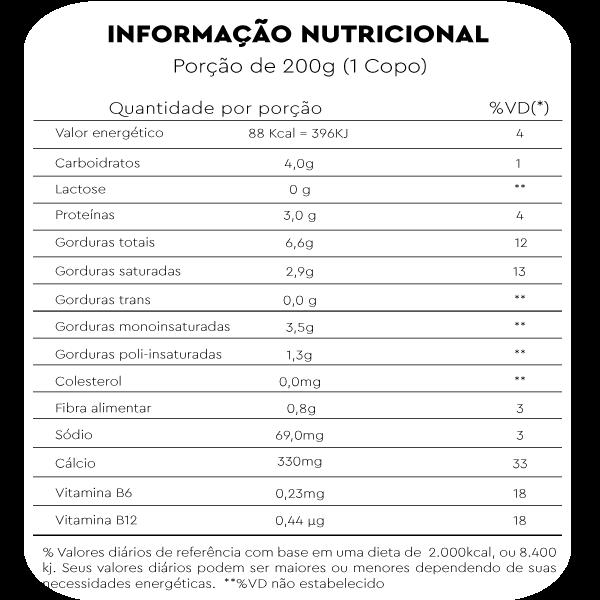 tabela nutricional leite fresco de castanha