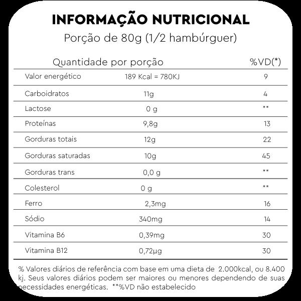 tabela nutricional hamburguer vegetal sabor frango